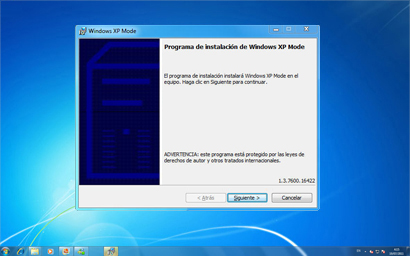 Instalación de Windows XP Mode